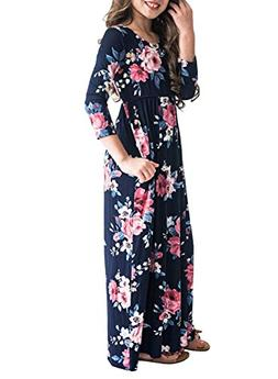 MITILLY Girls Flower 3/4 Sleeve Pleated Casual Swing Long Ma