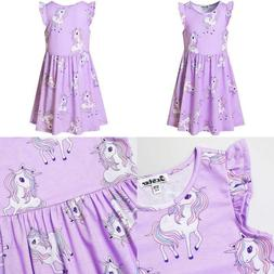 Girls Flutter Sleeve Unicorn Mermaid Dresses Summer Party Be