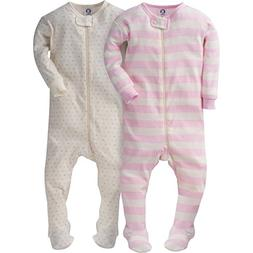 Gerber Girls' 2 Pack Footed Sleeper, Tiny Hearts/Stripes, 3
