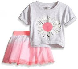 Kensie Girls French Terry Cropped Top & Skirt W/Pink Tulle S