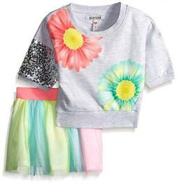 Kensie Girls French Terry Cropped Top & Skirt W/Rainbow Tull