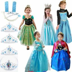 Girls Frozen Elsa Anna Princess Dress Kids Cosplay Costume F