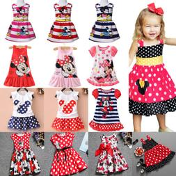 Girls Kids Minnie Mouse Tutu Tulle Skirt Party Mini Dress Ch