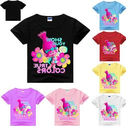 Girls Kids Trolls Cartoon Short Sleeve T-shirt Tops Casual S