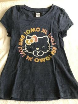 Girls Large Gray Hello Kitty Graphic Tee Short Sleeves