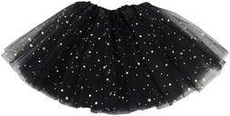 Jastore Girls Layered Stars Sequins Tutu Skirt Princess Ball