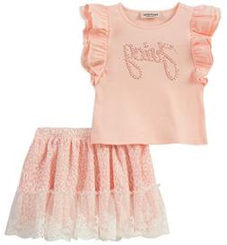 Juicy Couture Girls' Little 2 Pieces Skirt Set, Light Pink,