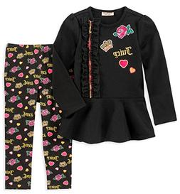 Juicy Couture Girls' Little 2 Pieces Tunic Legging Set, Blac