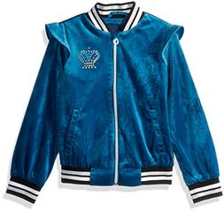 Limited Too Girls' Little Crown Velour Bomber Jacket, Teal,