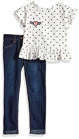 kensie Girls' Little Fashion Top and Pant Set , Vanilla KZ01