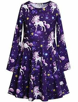 Jxstar Girls Long Sleeve Dresses Kids Unicorn Clothes Cotton