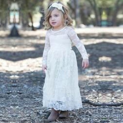 Girls Long Sleeve Rose Lace Princess Wedding Bridesmaid Maxi