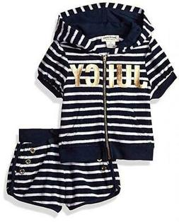 Juicy Couture Girls Navy Striped 2pc Short Set Size 2T 3T 4T