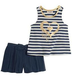 Juicy Couture Girls Navy Striped Tank Top 2pc Short Set Size