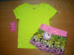 Girls NWT Hello Kitty Shorts & SS Shirt Set Neon Yellow, Pin