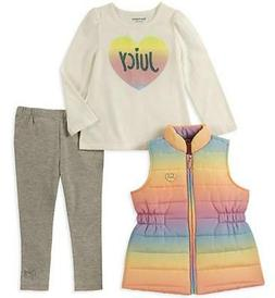 Juicy Couture Girls Rainbow Vest 3pc Legging Set Size 2T 3T