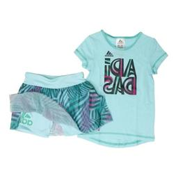adidas girls Short Sleeve Top Mesh Skort 2 Piece Set Light A