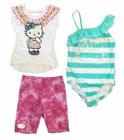 HELLO KITTY Girls Size 7 8 Bathing Suit, Cutout Lace Top, Pi
