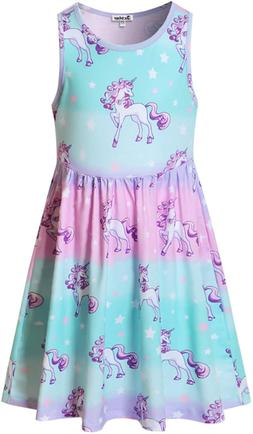Girls Sleeveless Unicorn Mermaid Dresses Summer Clothes Hawa