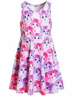 Jxstar Girls Summer Dress Sleeveless Printing