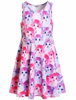 Jxstar Girls Summer Dress Sleeveless Printing Casual/Party 3