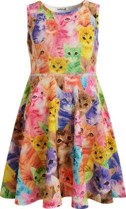 girls summer dress sleeveless printing casual party