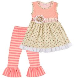 Girls Toddler Baby Clothing Outfit Set Short Sleeve Shirt Ca