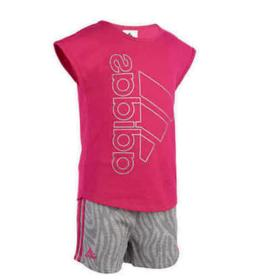 Adidas Girls Toddler Youth Pink/Grey 2-piece Short Set Sz  2