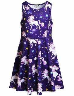 Jxstar Girls Unicorn Dresses Rainbow Kid Sleeveless Party Fl