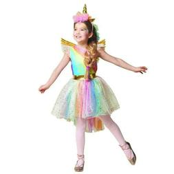 Kids Girls Unicorn Rainbow Costume Tutu Fancy Dress Headband