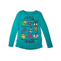 Hanes Girl`s Graphic Shirred Sideseam Long Sleeve Tee, L, BF