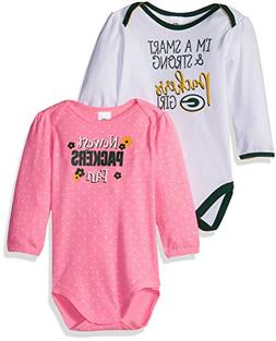 NFL Green Bay Packers Baby-Girls 2-Pack Long-Sleeve Bodysuit