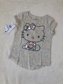 Hello Kitty Little Girls' Fashion Top T-Shirt Oatmeal Size 5