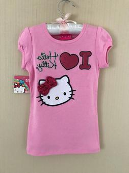 Hello Kitty Size 4 5 Pink Bow Short Sleeve Tee Top Girls Clo