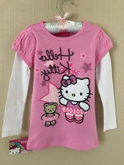 Hello Kitty Size 4 Ballerina Pink Long Sleeve Tee Top Girls