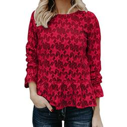 Hollow Out Tops,Gillberry Women Long Sleeve V Neck Floral Pr