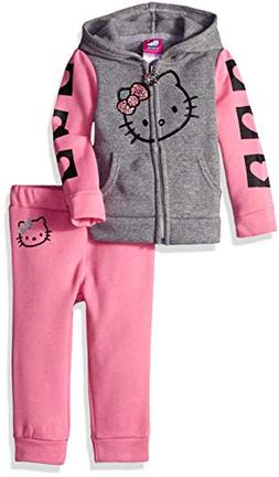Hello Kitty Girls' Baby 2 Piece Hooded Fleece Active Set, Pi