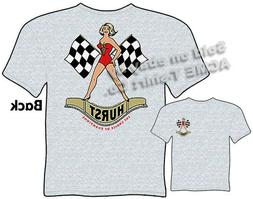 hurst checkered flag girl t shirt racing