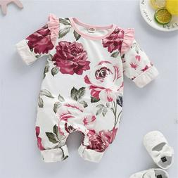 Infant Baby Girls Romper Tops Jumpsuit Floral Pants Headband