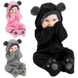 Infant Baby Kid Girl Boy Solid Cartoon Ear Hoodie Romper Clo