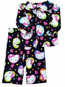 Hello Kitty Infant Toddler Girls Black Heart Print Sleepwear