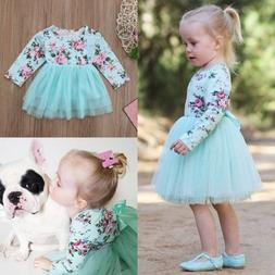 Kid Baby Girls Long Sleeve Floral Party Pageant Tulle Gown D