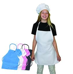 Kids Apron and Chef Hat Set - Adjustable Hat. Fits Childs Si