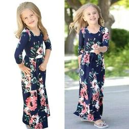 Kids Baby Girl Fashion Boho Long Maxi Dress Clothing Long Sl