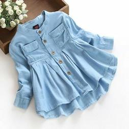 Kids Baby Girl Girls Long Sleeve Clothes Short Dress Infant