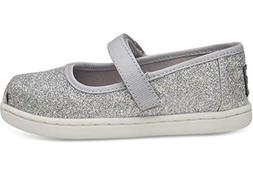 TOMS Kids Baby Girl's Mary Jane  Silver Iridescent Glimmer 3
