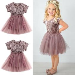 Kids Baby Girls Dress Lace Party Dress Short Sleeve Solid Dr