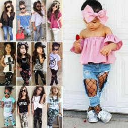 Toddler Kids Baby Girls T-Shirt Tops Long Pants Clothes Outf