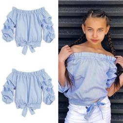 Kids Girl Clothes Off Shoulder T-Shir Tops Baby Girls Long S
