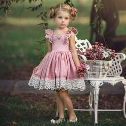 Kids Girl Lace Flower Casual Dress Princess Pageant Party Dr